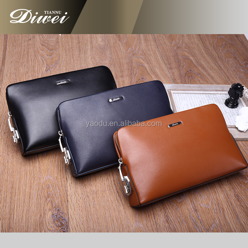 Guangzhou genuine leather men's clutch wallets with locks