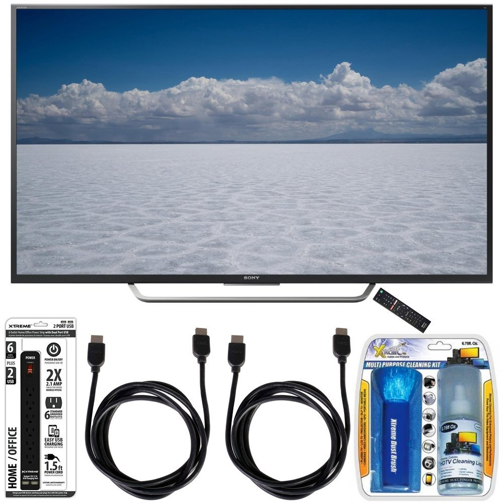 """Sony XBR-55X700D - 55"""" Class 4K Ultra HD TV with Essential Accessory Bundle includes TV, Screen Cleaning Kit, 6 Outlet Power Strip with Dual USB Ports and 2 HDMI Cables"""