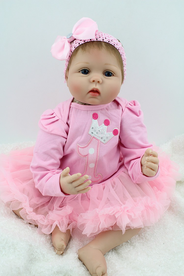 "Cute Reborn Baby Doll Soft Silicone 18 Inch Handmade Baby: 22"" Cute Baby Reborn Dolls Soft Silicone Babies For Sale"