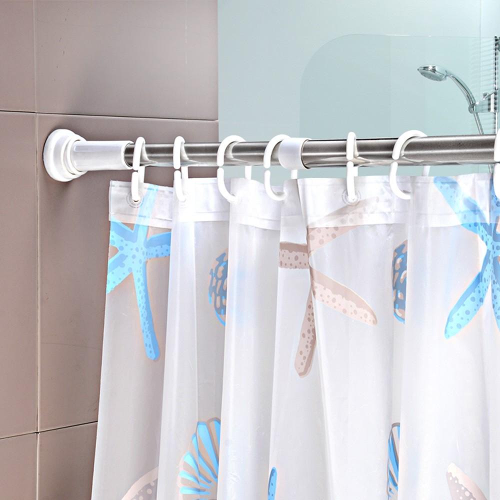 Stainless Steel Adjustable Shower Curtain Rod Holder Accessories