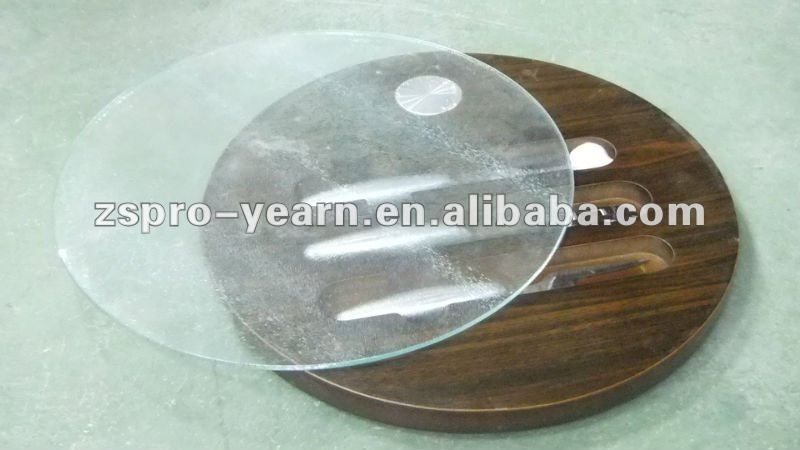 Wooden Cheese Board Set with Knife Slicer and Holder and Round Shape Rotatable Glass Lid Board for Cutting Chopping Table Dining