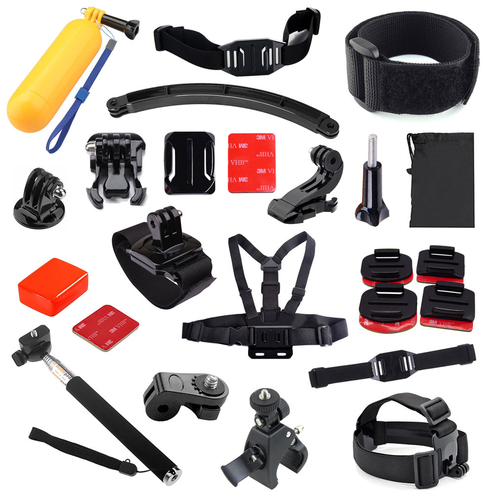 GoPro accessories 14 in 1 Helmet Extention Kits Mount Handlebar Mount Chest Wrist Strap for Gopro Hero3 3+ 4 sj4000 xiaomi yi