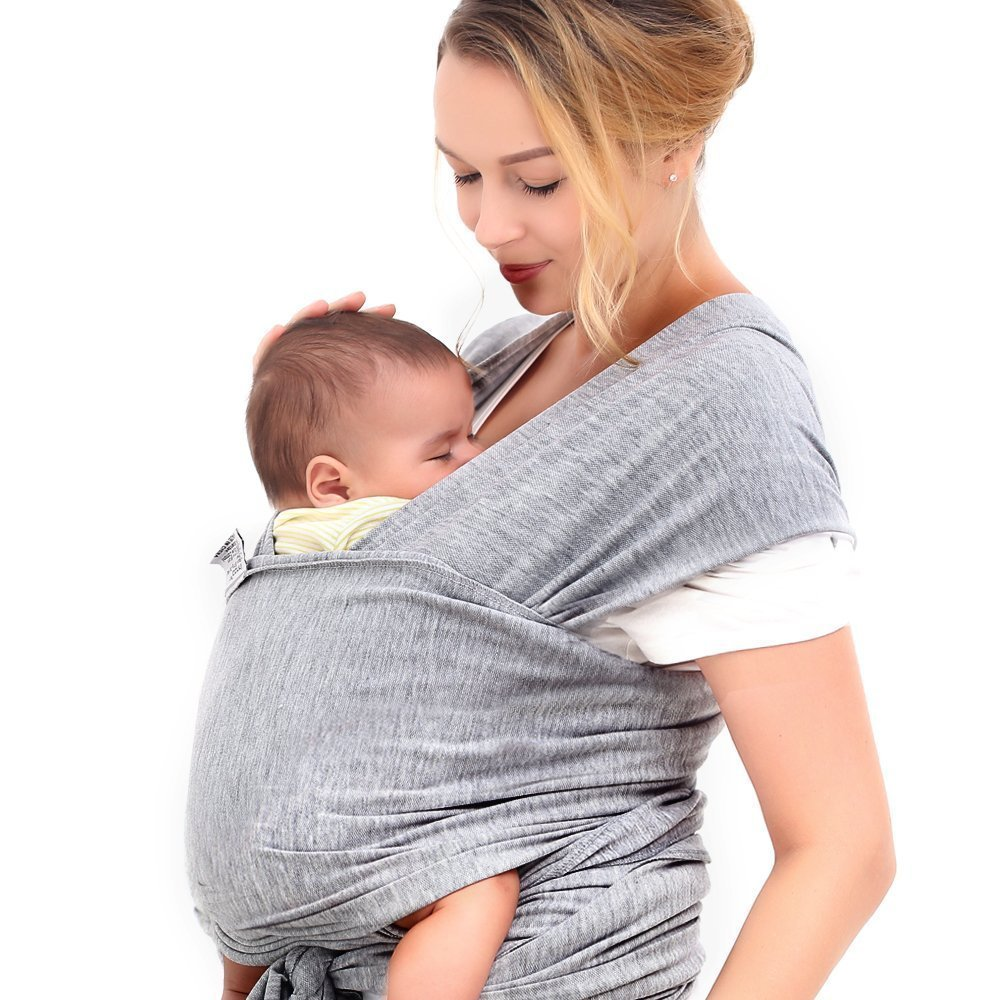 448b58cf54f Get Quotations · Grey Baby Wrap 4-in-1 - Baby Sling - Infant Carrier - Up