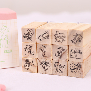 Flower/cartoon design diy natural wooden rubber stamp for kids 12 pcs /bag