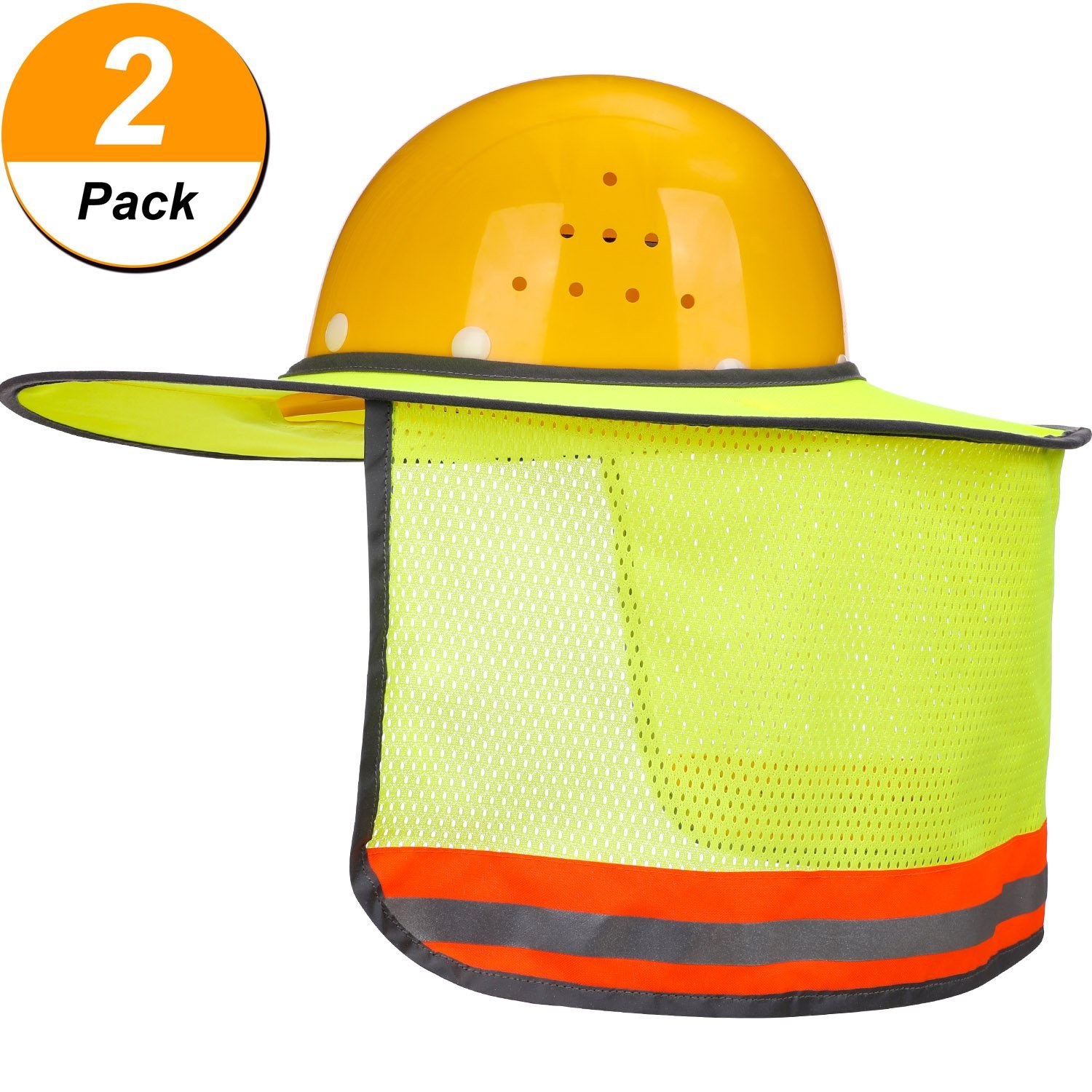 8eaf4445 Get Quotations · Maxdot 2 Pack Hard Hat Sun Neck Shield Full Brim Sunshade  for Hard Hats, Reflective