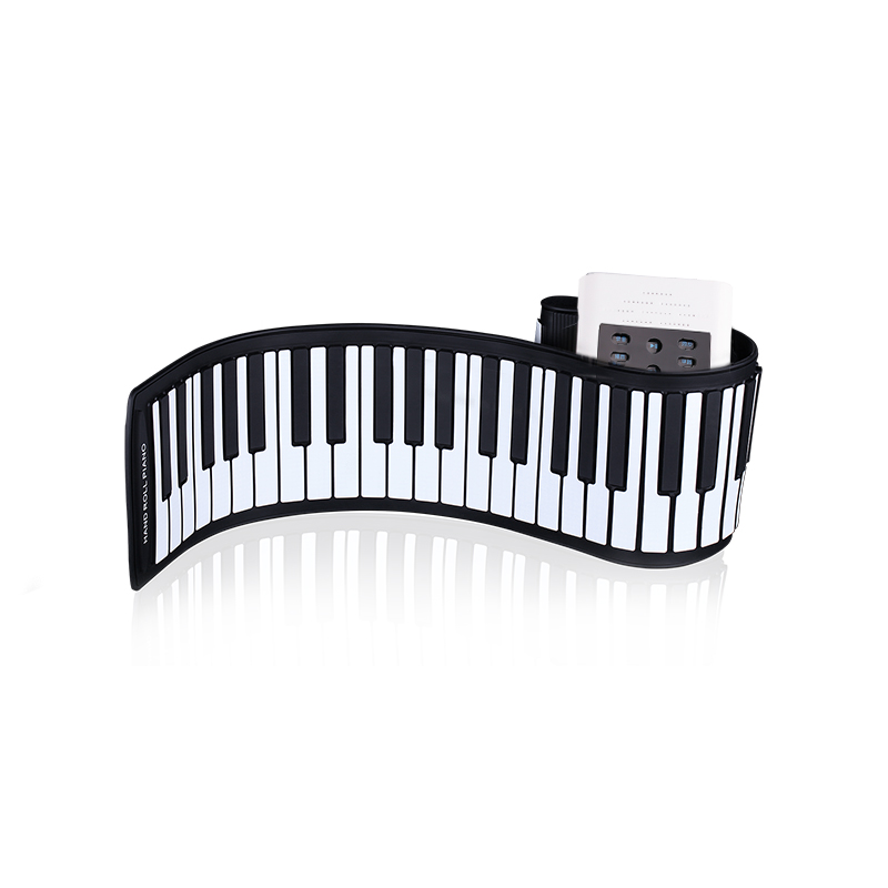 Folding electronic hand roll piano with microphone input
