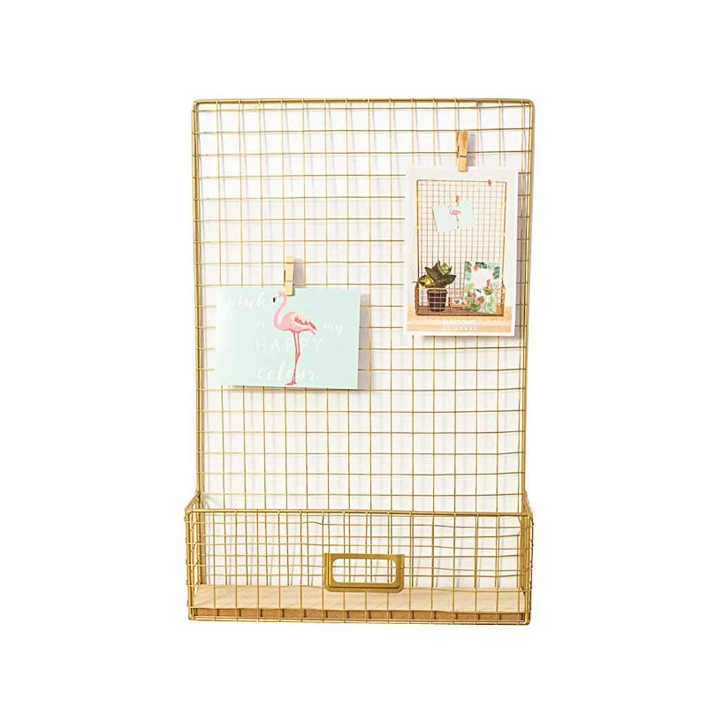 YUAN-magazine stand Nordic Wrought Iron Rack Storage Wall Hanging Wall Mural Creative Decorative Frame