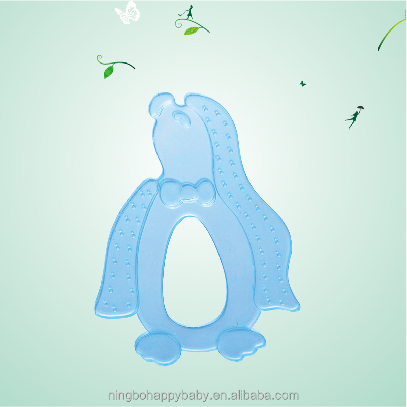 penguin shape baby silicone teether, silicone teether toy