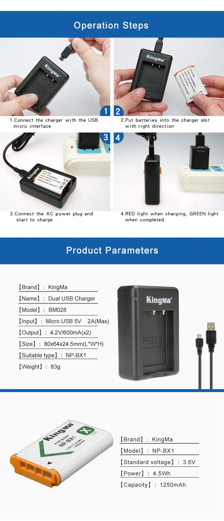 Pin KingMa NP-BX1 (2-Pack) và Bộ sạc pin USB kép nhanh cho Sony NP-BX1 / M8 DSC-HX50V HX300 HX400 RX100
