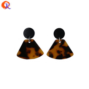 Brown Black Fan Shape Vintage Travel Earrings Geometry Earrings Acetic Acid Material Fashion Style Fancy Female Jewelry Earring