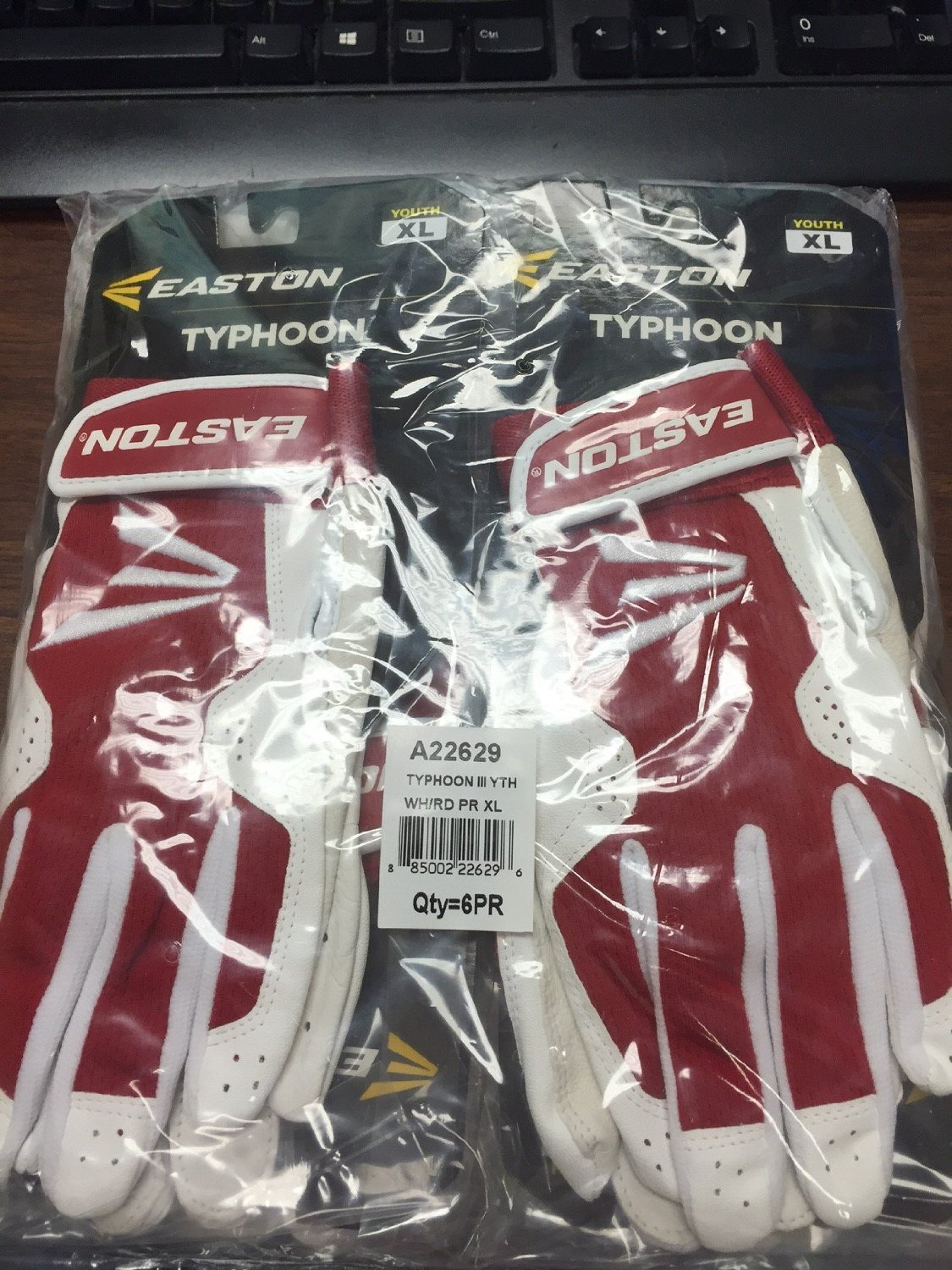 Easton Typhoon III Batting Gloves Baseball/Softball White/Red 6 Pack(pair)