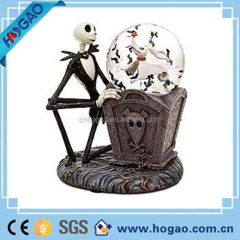 halloween party souvenir giant skull glass surface resin water globeunique snow globes