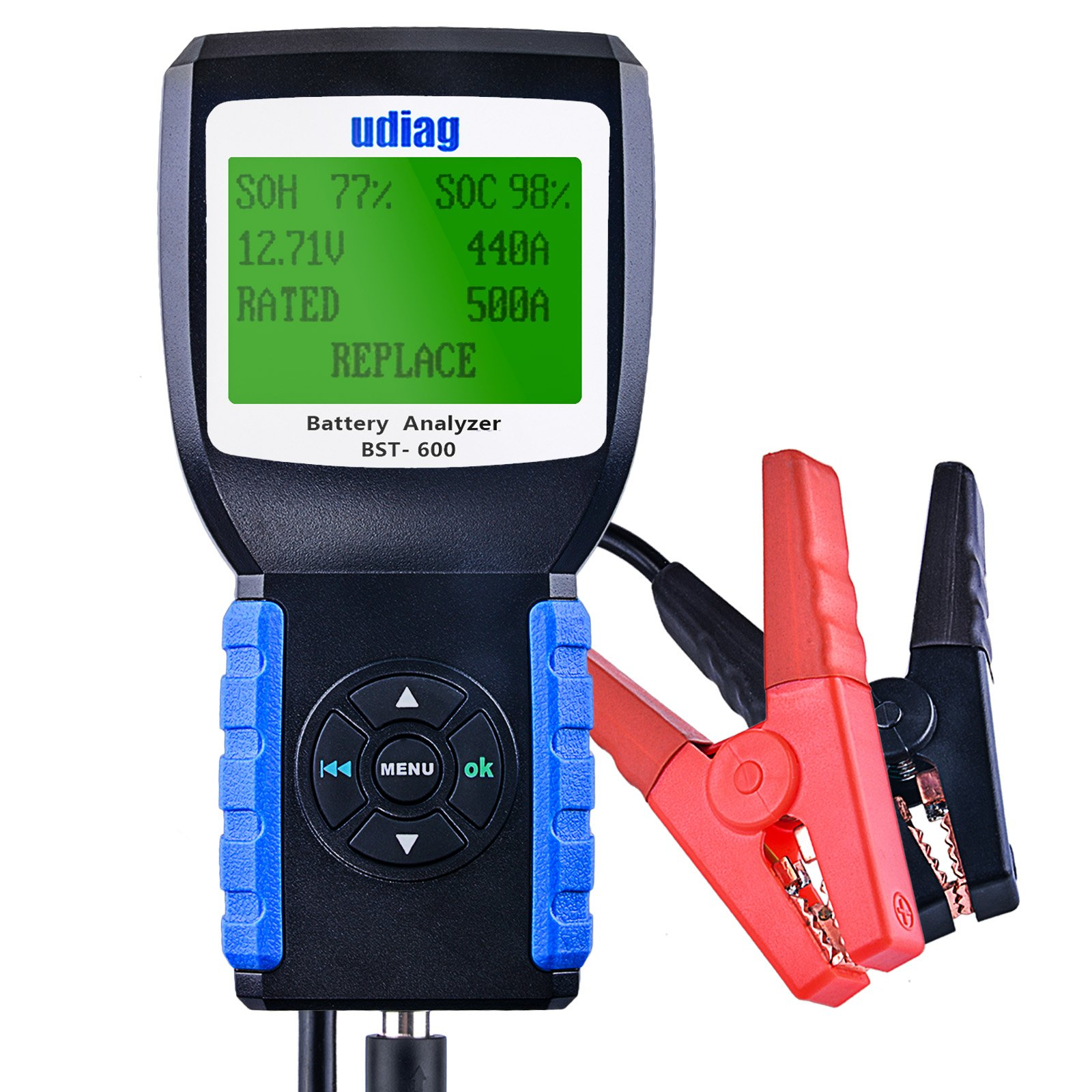 udiag BST600 12V Car Battery Analyzer 100-2000CCA 30-200AH Automotive Car Battery Load Tester, Cranking and Charging System Test Scan Tool Digital Battery Tester for Cars Blue