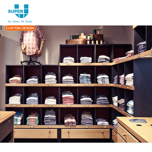 Customized Retail Store ODM OEM Wooden Rack Clothing Showroom Display Shelf Design