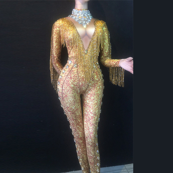 Sexy Gold Fringe Jumpsuit Spandex One Piece Rhinestones Costume Stage Performance Dance Wear Singer Pole dancing Bodysuit DL3439
