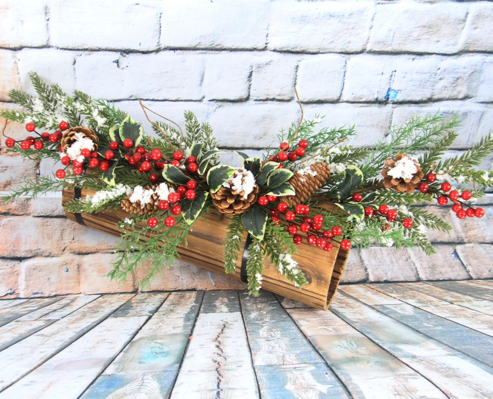 Snow Prelit Christmas Tree Large Swags Door Wall Hanging