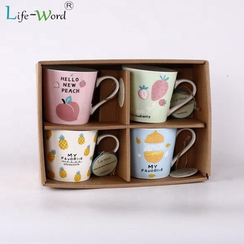 Unique corporate gifts ideas fruit printing ceramic cup with box set of 4 coffee mugs gift set