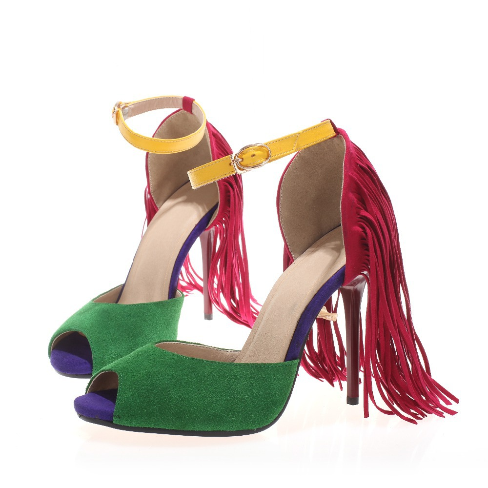 696f6a00e467 Get Quotations · Green Buckle Strap Flock Medium Rubber Fashion Nubuck  Leather Tassel Adhesive Cover Heel Women Party Sandals