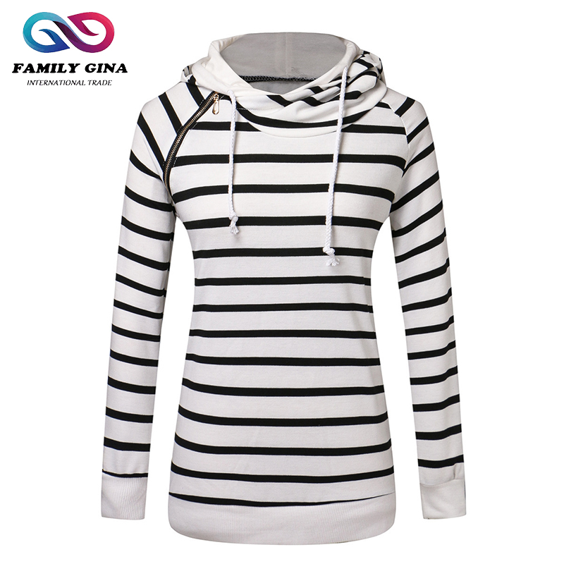 Wholesale Hot Sale Popular Fashion Women Casual Long Sleeve Double Hooded Striped Hoodie Sweatshirt