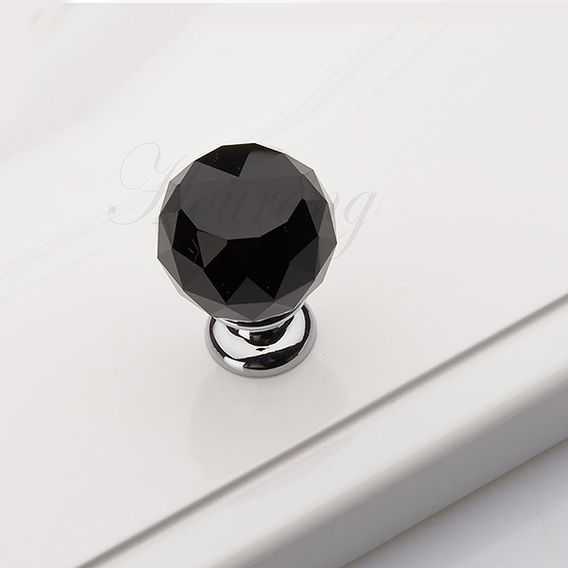 Kitchen Cabinet Glass Knobs: 5-pcs-30mm-Black-Glass-Crystal-Kitchen-Cabinet-Knobs-And