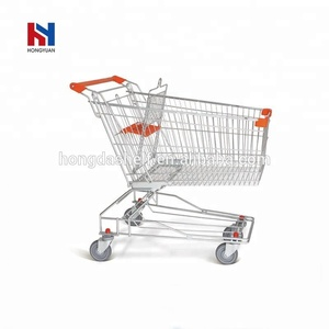 Good selling metal folding retail shopping hand trolley cart 150L