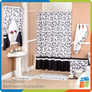 printed bathroom fabric polyester shower curtain with matching window curtain