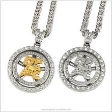 42eede82c377 Хип-хоп ювелирных изделий вращающихся вокруг 2PAC золотой кулон ожерелье  Bling Crystal Рождественский подарок
