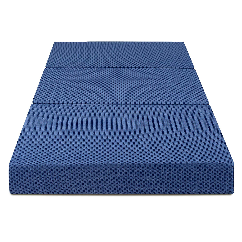 SLEEPLACE 4 inch Tri-Folding Memory Foam Mattress, Blue (Blue)