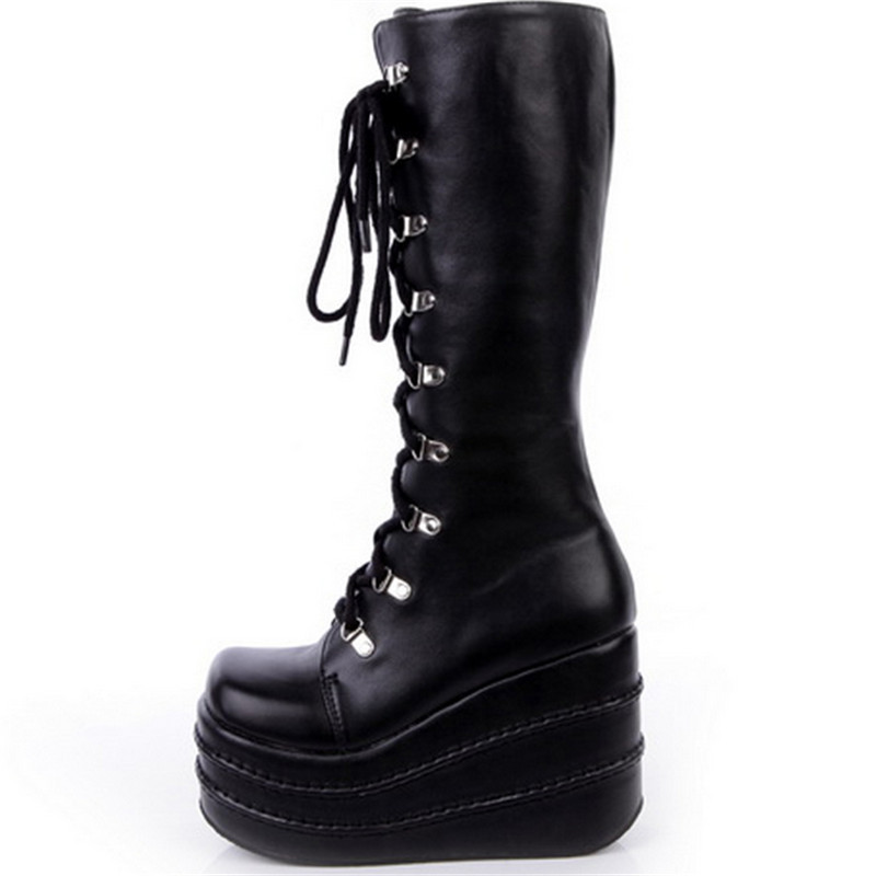 Get Quotations · Harajuku shoes Queen New Gothic punk shoes cosplay boots  knee high heel platform sexy zip winter e3333dbdd927