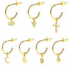 2019 Minimaliste bijoux dainty charme huggies 925 argent 18k or dangle boucles d'oreilles