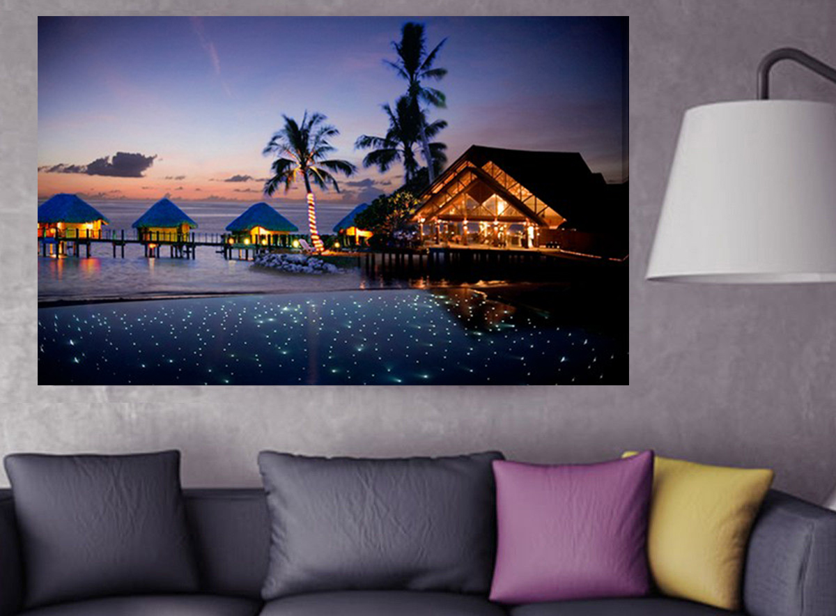 seaside night peaceful time optic fibers canvas wall art painting lighted art framed led wall art picture
