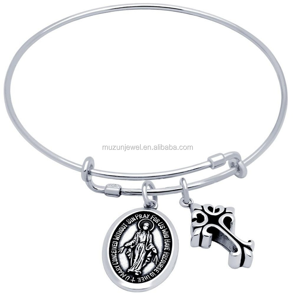 Original jewelry wholesale cross and jesus charm 925 sterling silver expandable bangle bracelet