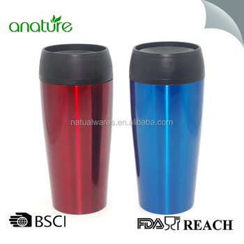 Travel Mug Coffee Cup Stainless Steel Tea Thermo Transpa Red Blue
