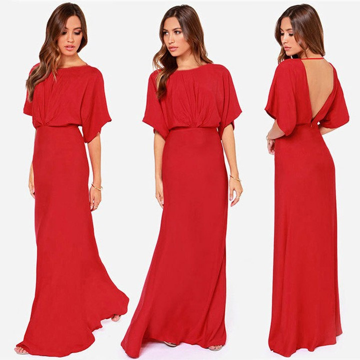 86aa862ff0 Get Quotations · Women Party Dress 2015 Autumn Summer Bat-Wing Short Sleeve  Sexy V Back Backless Maxi