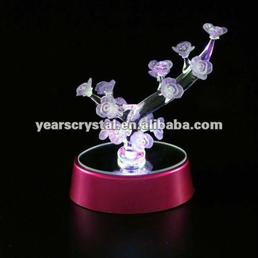 hot selling led base crystal flowers artificial for wedding give away gift(R-0902
