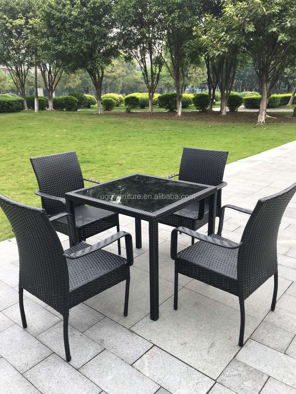 Cheap Rattan Dining Chair With Tempered Glass Top Table ...