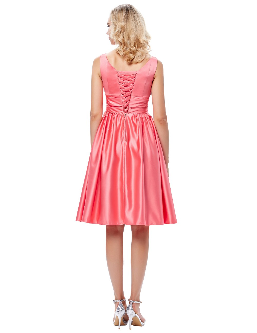 Grace Karin Sexy Sleeveless V-Neck Satin Watermelon Color Prom Party Dress Short Homecoming Dress Under 100 GK000126-1