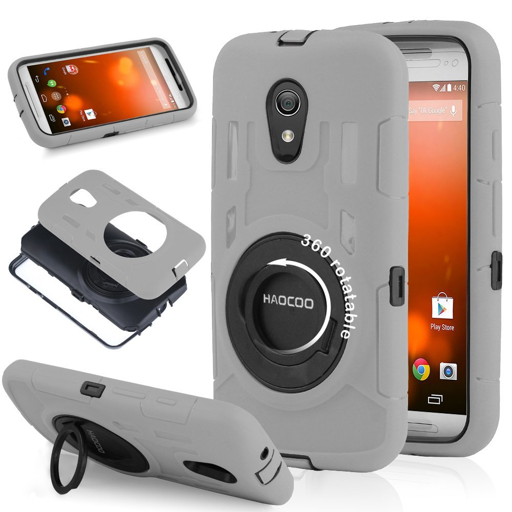 """Moto G 2nd Generation Case, HAOCOO Extreme-Duty Shockproof Full-body Rugged Hybrid Protective Case Cover With 360 Degree Rotating """"RING"""" Stand and Built-in Screen Protector for All New Motorola Moto G (2nd Gen)- - Not Fit Moto G Phone (1st generation) (Gray)"""