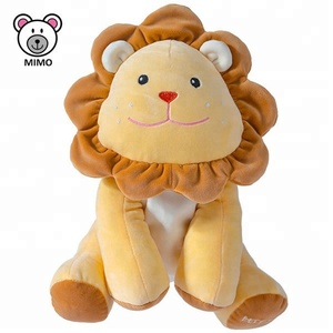 Adorable Baby Rattle Soft Plush Lion Toy 2018 New Wholesale Custom LOGO Cute Kids Stuffed Wild Animal Yellow Lion Plush Toy