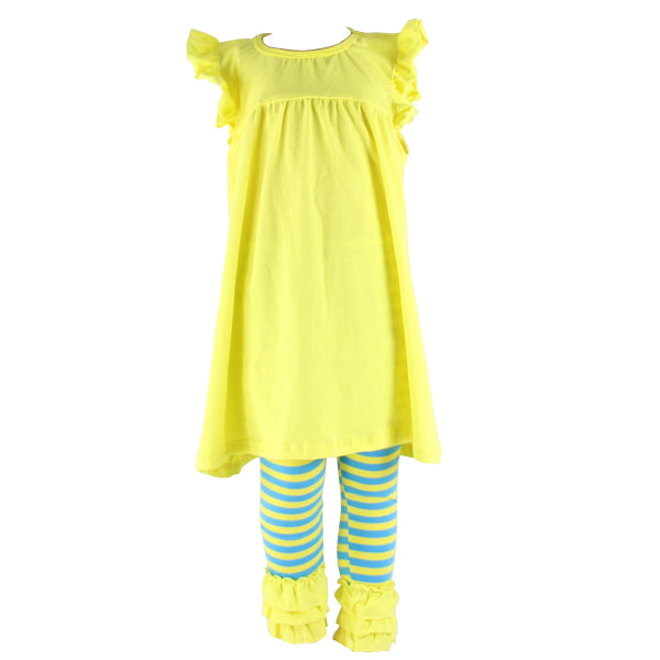 Kaiyo boutique girl clothing sleeveless ruffle sets pictures of latest gowns designs icing baby leggings outfit kids clothes