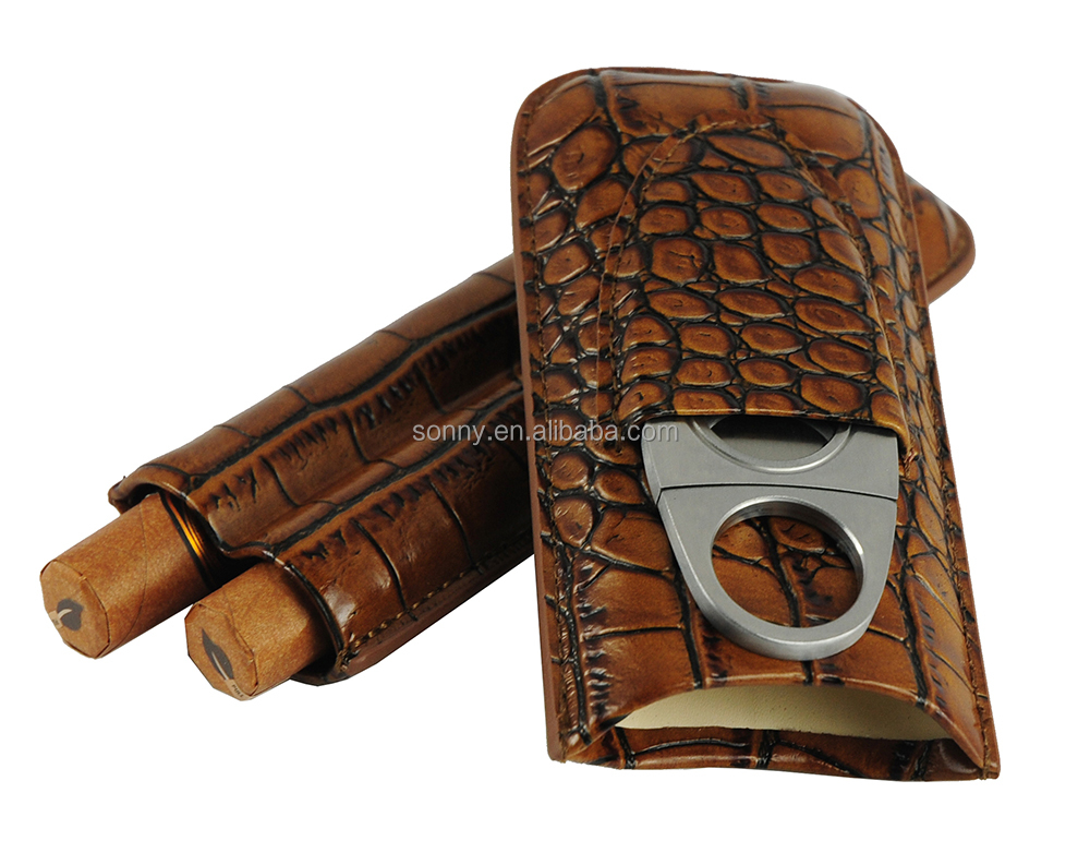 Croco Line Genuine Leather Pocket Travel Cigar Case for 2 Cigars Storage