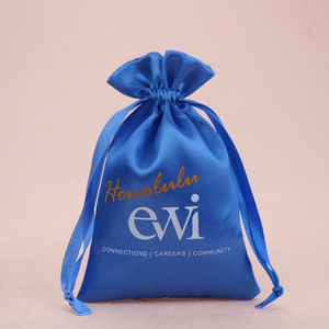 Custom hair extension packaging satin bag drawstring for cosmetic