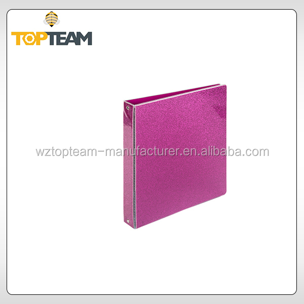 A4 decorative ring binders PVC covering board Glitter file folder box