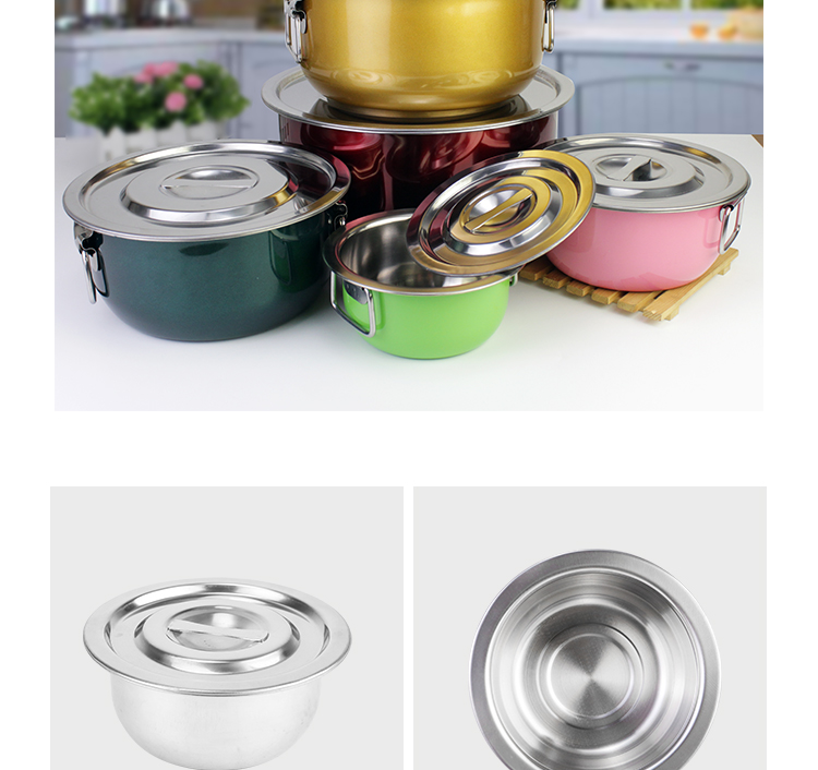 My home MSS410 14/18/22/26/30cm 10pcs multi purpose stainless steel stock pot