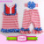 Children Kids 3 Pieces set ruffle bibs tank top & stripe pants boutique beauty summer patriotic 4th of July baby outfit