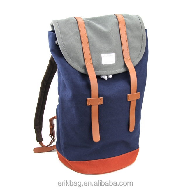 High Quality School Style Canvas Backpack Bag School Bag with PU decoration