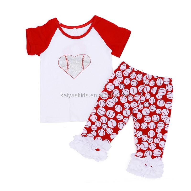 Wholesale Newborn Baby Clothes Baseball Print 2 Pieces