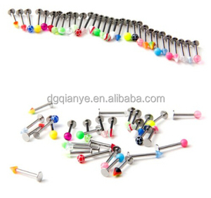 1.2mm Surgical Steel 16 Gauge Lip Body Jewelry Assorted Labret Lip Bar