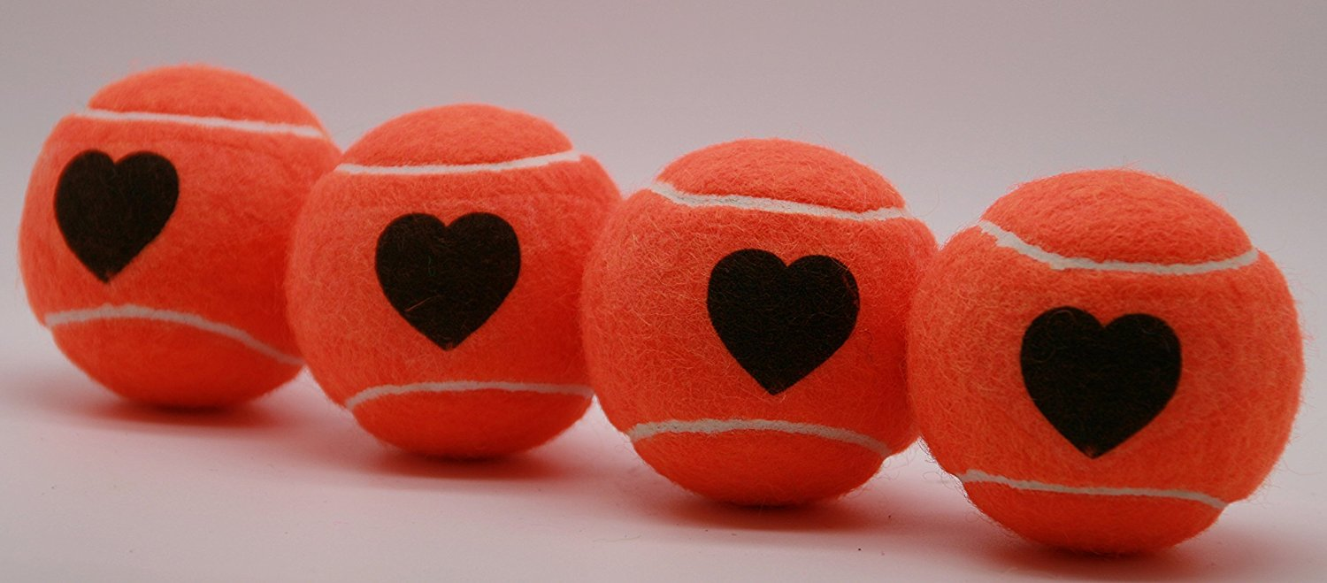 Price's Heart Motif Type 2 Tennis Balls (1 x 4 Ball Tube). Pressureless, Durable and Long Lasting. Available in Fun Colors with a Heart Print. Made in the UK.