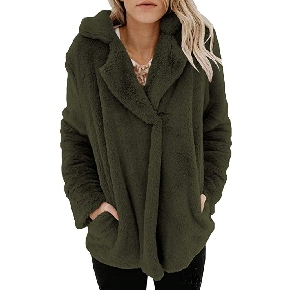 b3bef6eb5e5d Get Quotations · ZYooh Fashion Womens Fleece Coat Winter Warm Open Front  Jacket Outerwear with Pockets Casual Button Fluffy